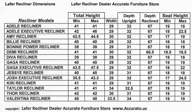 Lafer Recliner Chair Sizes Dimensions Models