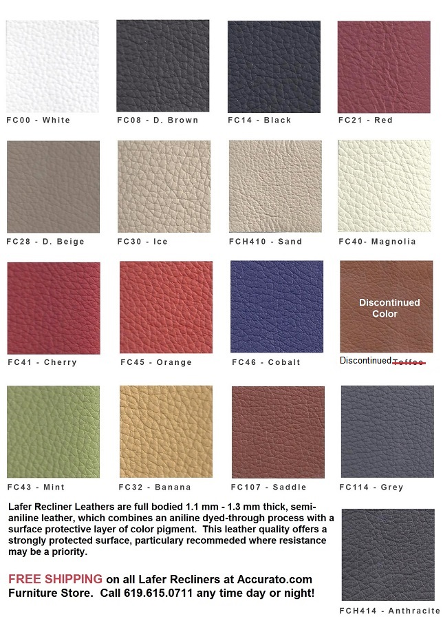 Lafer Recliner Leather Sample Colors