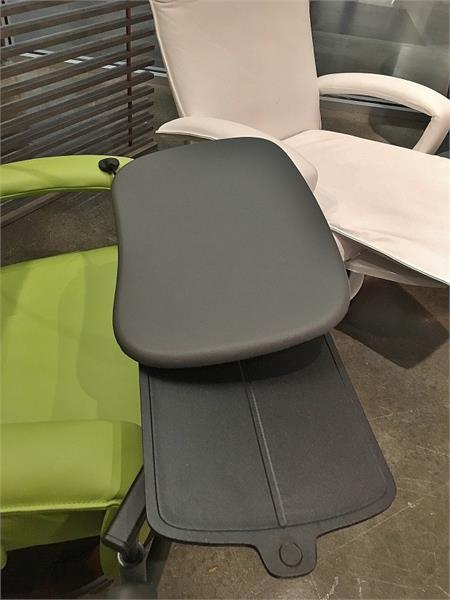 Recliner Workstation Table Grey Leather Top Computer Table