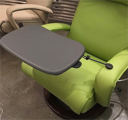 Lafer Recliner Laptop Table Grey Leather Top Workstation