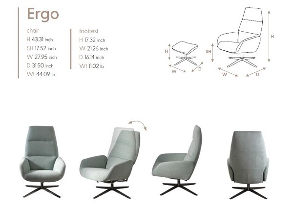 Ergo Kebe Recliner Size Dimensions