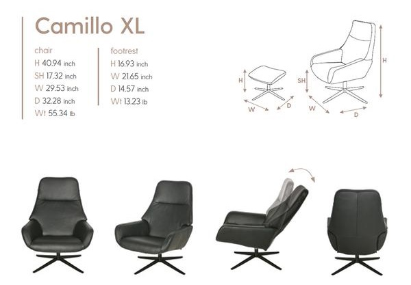 Camillo XL Kebe Recliner Size Dimensions