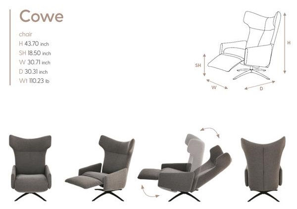 Cowe Kebe Recliner Size Dimensions