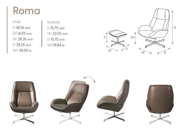 Roma Kebe Recliner Size Dimensions