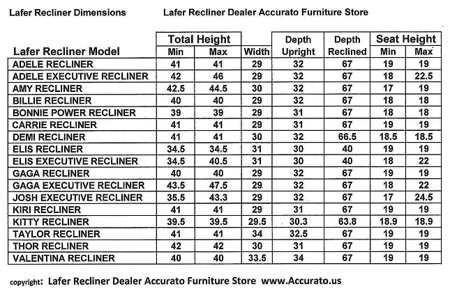 Lafer Recliners Model Sizes Dimensions