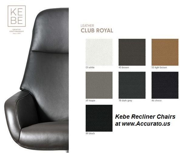 Kebe Recliner Club Royal Leather Samples
