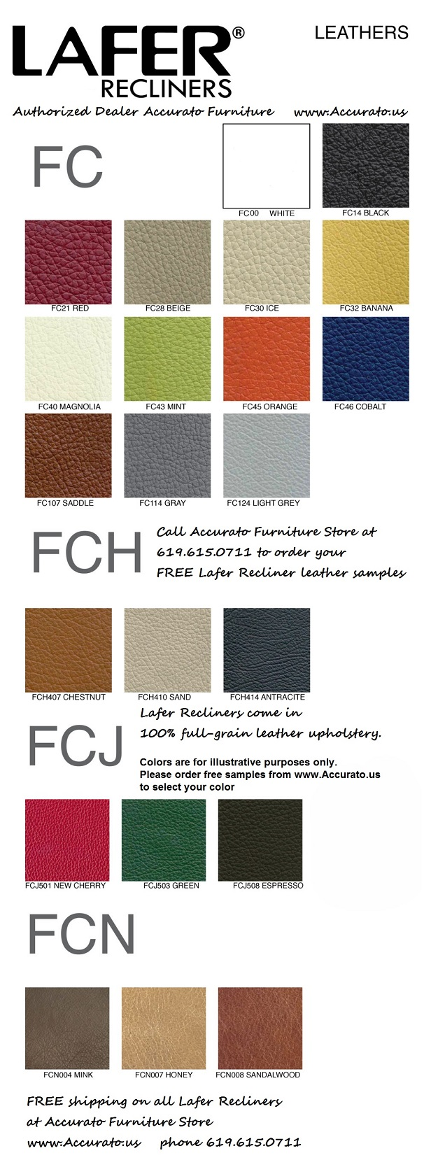 Lafer Recliner Leather Sample Colors are free at Accurato