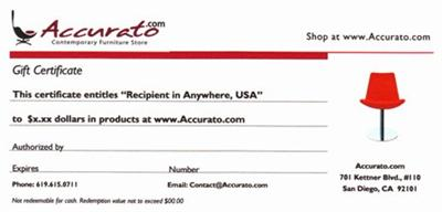 A Gift Certificate from Modern Furniture Store Accurato