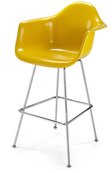 Case Study Arm Shell H Base Barstool or Counter Stool Fiberglass