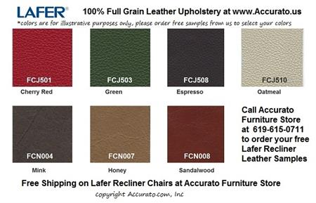 SET of FREE LEATHER SAMPLES for Lafer Recliner Chairs - Up to 5 Samples Free