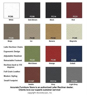 SET OF FREE LEATHER SAMPLES for Lafer Recliner Chairs